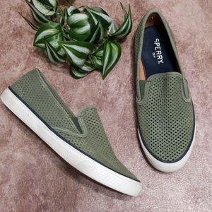 Sperry Seaside Perforated Slipon Sneaker in Olive